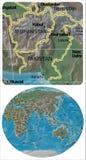 Afghanistan Pakistan en de kaart van Azië Oceanië Stock Afbeeldingen