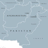 Afghanistan and Pakistan political map Stock Photography