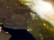 Afghanistan and Pakistan from space during sunrise Stock Photo