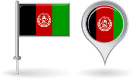 Afghanistan pin icon and map pointer flag. Vector Royalty Free Stock Images