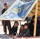 Afghanistan refugee camp children in the North West in the middle fighting season stock images