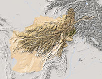 Afghanistan, shaded relief map Royalty Free Stock Photography