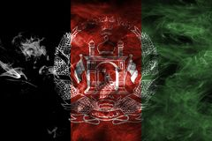 Afghanistan smoke flag. Isolated on a black background Stock Photos