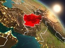 Afghanistan van ruimte tijdens zonsopgang Royalty-vrije Stock Afbeelding