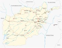 Afghanistan vector road map with important cities Stock Illustration
