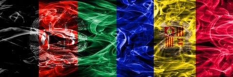 Afghanistan versus zij aan zij geplaatste de rookvlaggen van Andorra Dikke mede stock illustratie
