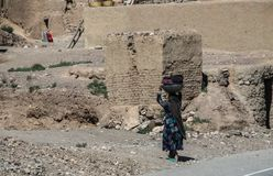 Afghanistan village street life in the west in the summer of 2018 stock image