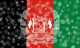 Afghanistan winter snowflake flag. Illustration Stock Photos