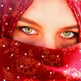 Afghanistan Woman. With green eyes in a traditional muslim hijab Royalty Free Stock Photo