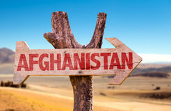 Afghanistan wooden sign with desert background Royalty Free Stock Photos