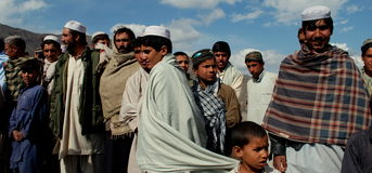 Afghans gathered in Azra district, Logar Province Stock Image