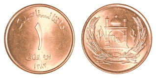 1 afghanska afghani mynt Arkivfoton