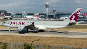 A7-AFH , Qatar Airways Cargo, Airbus A330-200F. A7-AFH is rolling for take-off on runway 35L at Istanbul Ataturk Airport LTBA, November 10, 2018 royalty free stock photo
