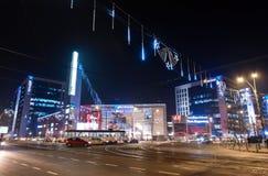 AFI Cotroceni商城外部在布加勒斯特,其中一个最大的商城在罗马尼亚 免版税库存照片