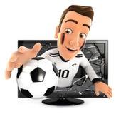 aficionado al fútbol alemán 3d que sale de la televisión Foto de archivo