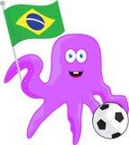 Aficionado al fútbol de la historieta del campeonato en el Brasil ilustración del vector