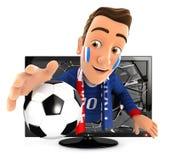 aficionado al fútbol francés 3d que sale de la televisión Fotos de archivo