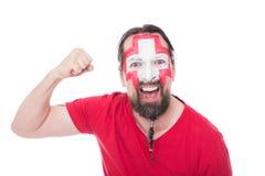Aficionado al fútbol suizo masculino Fotos de archivo libres de regalías