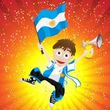 Aficionado desportivo de Argentina com bandeira e chifre Foto de Stock