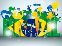Aficionado desportivo de Brasil com bandeira e chifre Imagens de Stock