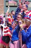 Aficionados al fútbol americanos en el final 2015 de mundial de la FIFA Women's Imagenes de archivo