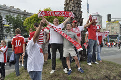 Aficionados al fútbol de Polonia Imagen de archivo