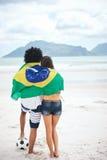 Aficionados al fútbol del Brasil Fotografía de archivo
