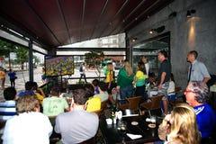 Aficionados al fútbol del Brasil Imagen de archivo libre de regalías