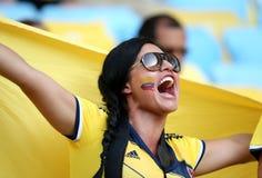 Aficionados al fútbol del Fifa en estadio foto de archivo