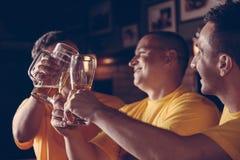 Aficionados deportivos en Pub Fotografía de archivo libre de regalías