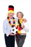 Aficionados deportivos mayores alemanes Imágenes de archivo libres de regalías