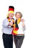 Aficionados deportivos mayores alemanes Imagenes de archivo