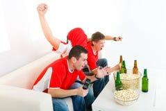 Aficionados desportivos felizes Fotos de Stock Royalty Free