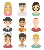 Afiliação dos tons de pele da afiliação étnica diferente fresca dos retratos dos povos das nações dos avatars e vetor étnicos dif Fotografia de Stock Royalty Free