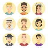 Afiliação dos tons de pele da afiliação étnica diferente fresca dos retratos dos povos das nações dos avatars e vetor étnicos dif Imagem de Stock Royalty Free