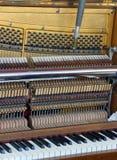 Afinador dentro de um piano com poucos martelo e cordas Fotos de Stock