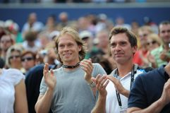 Afinogenov Maxim and Cherkasov Andrey. At Rogers Cup 2009, boyfriend and coach of Dementieva Elena Stock Photo