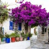 Afionas,科孚岛街道  免版税库存图片