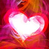 Afire heart. Liquid waves actions, place for text Royalty Free Stock Photos