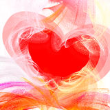 Afire heart. Liquid waves actions, place for text Vector Illustration