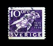 Afixe o corredor, 300th aniversário do serie sueco do serviço postal, cerca de 1936 Imagem de Stock Royalty Free