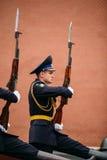 Afixe o protetor de honra na chama eterno em Moscou, Rússia Fotografia de Stock Royalty Free