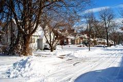 Afixe a rua da tempestade do inverno no córrego do vale, LI Fotos de Stock