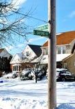 Afixe a rua da tempestade do inverno no córrego do vale, LI Imagens de Stock Royalty Free
