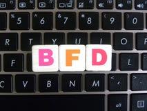 Afkorting BFD op toetsenbordachtergrond royalty-vrije stock foto's