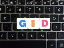 Afkorting GID op toetsenbordachtergrond Royalty-vrije Stock Foto