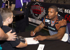 AFL Arizona Rattlers wide receiver Kerry Reed. AFL Arizona Rattlers Kerry Reed signs an autograph. The Rattlers won their third consecutive ArenaBowl Stock Photos