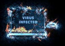 Aflame laptop. Virus enabled . Illustration created from my own photos of the flame Royalty Free Stock Images