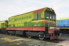 Afleidende locomotief in spoorwegmuseum Brest Wit-Rusland Stock Fotografie
