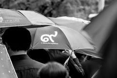 Afligido no funeral RAMA IX em Tailândia imagens de stock